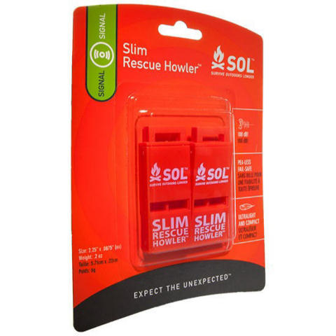 Adventure Medical Kits SOL SLIM Rescue Howler Whistle - 2/Pack