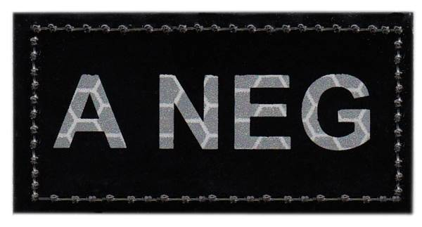 Blood Type Patch - Infrared - A NEG - Hook backing