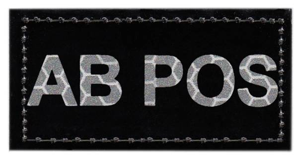 Blood Type Patch - Infrared - AB POS - Hook backing
