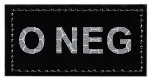 Blood Type Patch - Infrared - O NEG - Hook backing