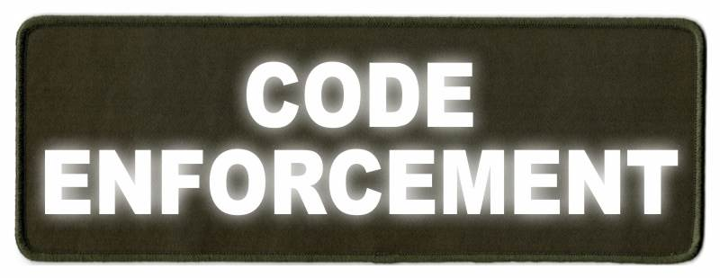 CODE ENFORCEMENT ID Patch - 11x4 - Reflective Lettering - OD Green Twill Backing