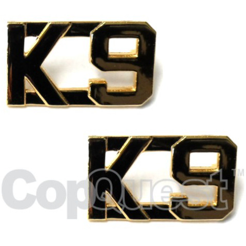 Collar Insignia - 1/2-inch high - K-9 - Gold - Pair