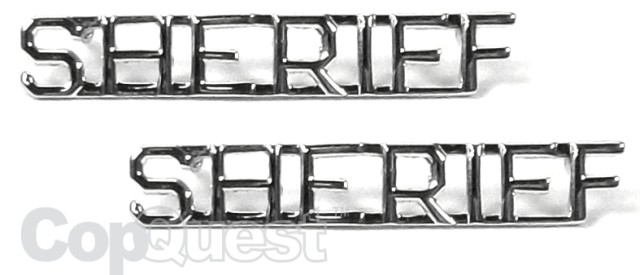 Collar Insignia - 1/4-inch high - Pair - SHERIFF - Nickel