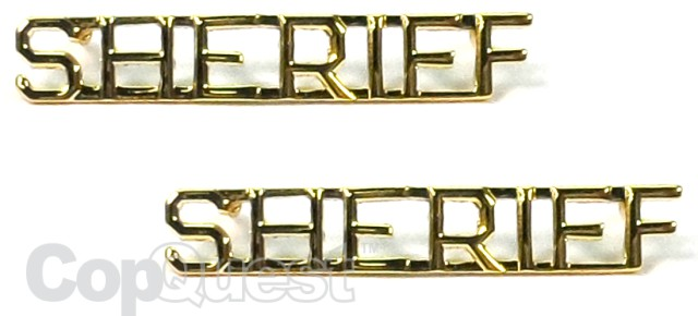 Collar Insignia - 1/4-inch high - Pair - SHERIFF - Gold