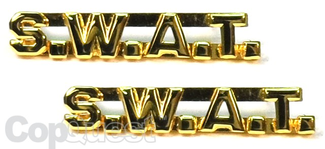 Collar Insignia - 1/4-inch high - Pair - SWAT - Gold