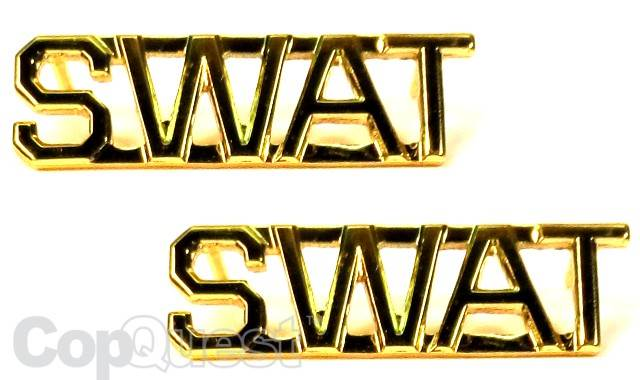 Collar Insignia - 3/8-inch high - Pair - SWAT - Gold