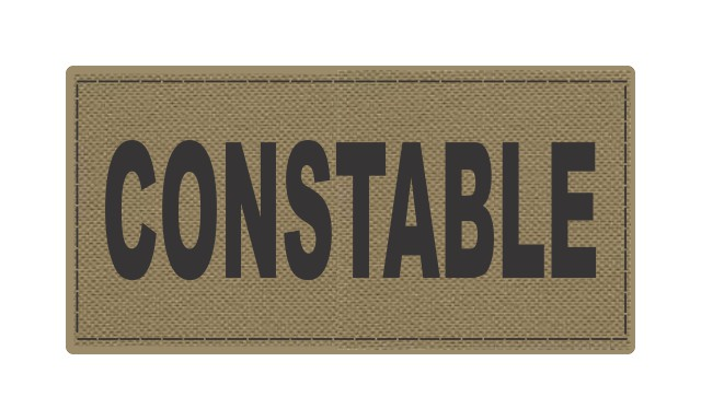 CONSTABLE ID Patch - 4x2 - Black Lettering - Tan Backing - Hook Fabric