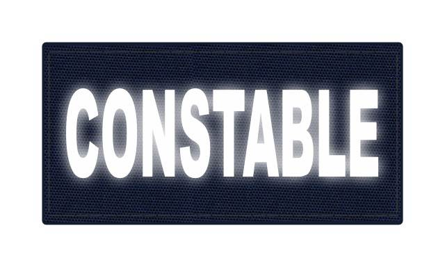 CONSTABLE ID Patch - 4x2 - Reflective White Lettering - Navy Backing - Hook Fabric