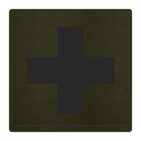 Cross Medic Patch - Black on OD Green Backing - 2 x 2 Square