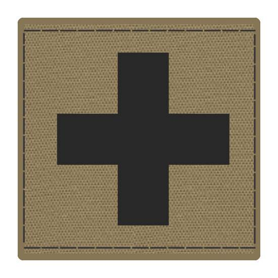 Cross Medic Patch - Black on Tan Backing - 2 x 2 Square