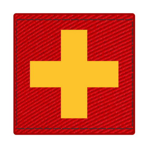 Cross Medic Patch - Gold on Red Cordura - 2 x 2 Square - Hook Backing