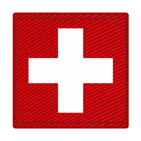 Cross Medic Patch - White on Red Cordura - 2 x 2 Square - Hook Backing