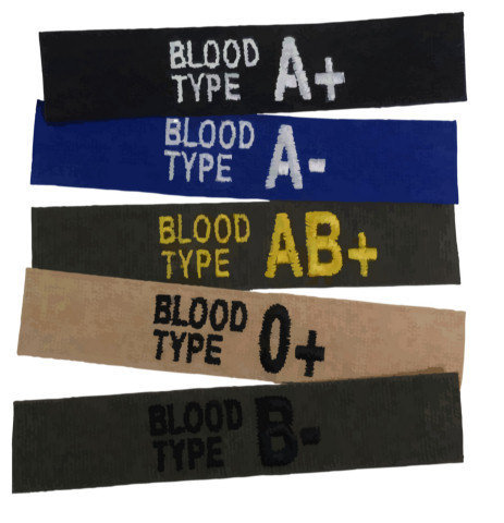 Embroidered Blood Type Tape - Hook Backing