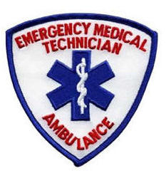 Emergency Medial Technician - Ambulance Shoulder Patch - Red AMBULANCE