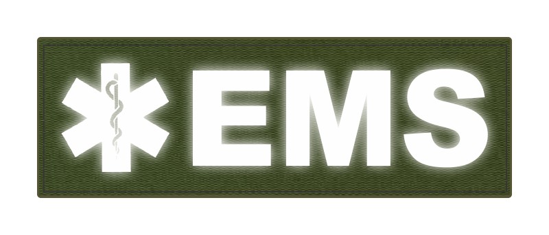 EMS Patch - Star of Life - 6x2 - Reflective Lettering - OD Green Backing - Hook Fabric