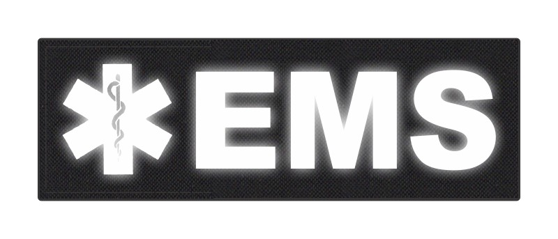 EMS Patch - Star of Life - 6x2 - Reflective Lettering - Black Backing - Hook Fabric