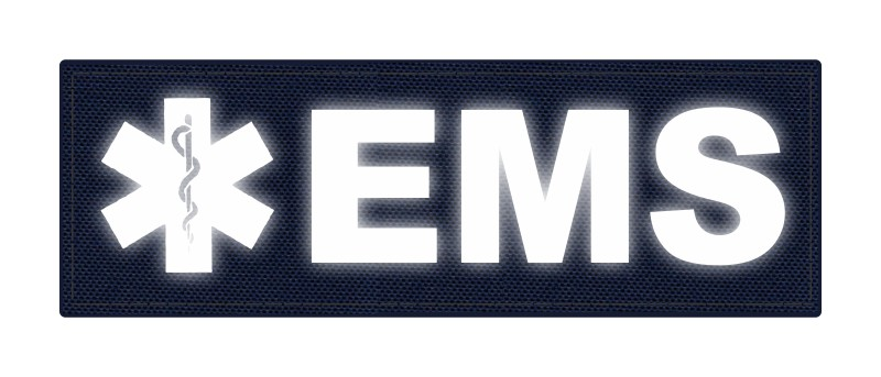 EMS Patch - Star of Life - 6x2 - Reflective Lettering - Navy Backing - Hook Fabric