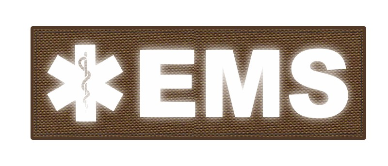 EMS Patch - Star of Life - 6x2 - Reflective Lettering - Coyote Backing - Hook Fabric