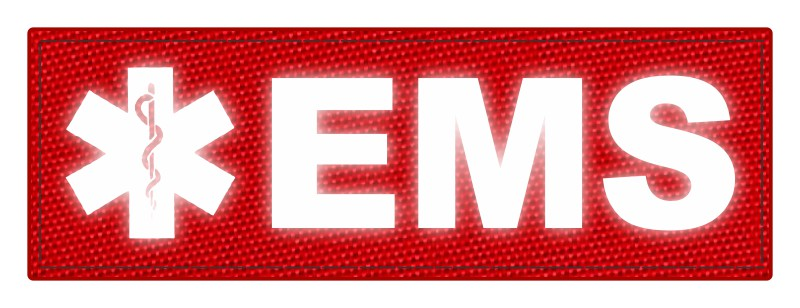 EMS Patch - Star of Life - 6x2 - Reflective Lettering - Red Backing - Hook Fabric