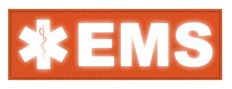 EMS Patch - Star of Life - 6x2 - Reflective Lettering - Orange Backing - Hook Fabric