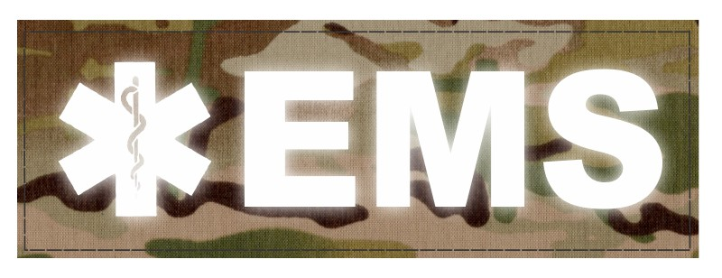 EMS Patch - Star of Life - 6x2 - Reflective Lettering - Multicam Backing - Hook Fabric