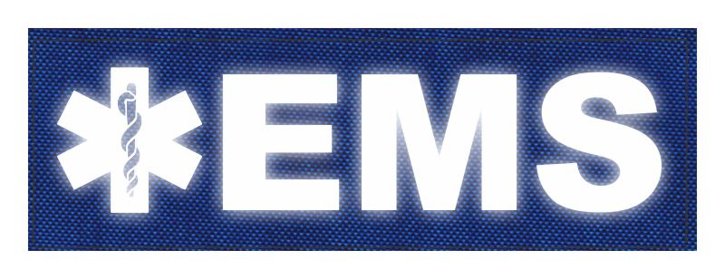 EMS Patch - Star of Life - 6x2 - Reflective Lettering - Royal Blue Backing - Hook Fabric