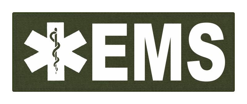 EMS Patch - Star of Life - 8.5x3.0 - White Lettering - OD Green Backing - Hook Fabric