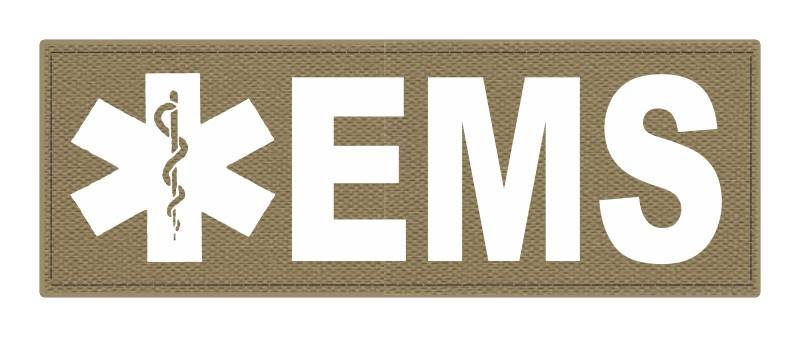 EMS Patch - Star of Life - 8.5x3.0 - White Lettering - Tan Backing - Hook Fabric