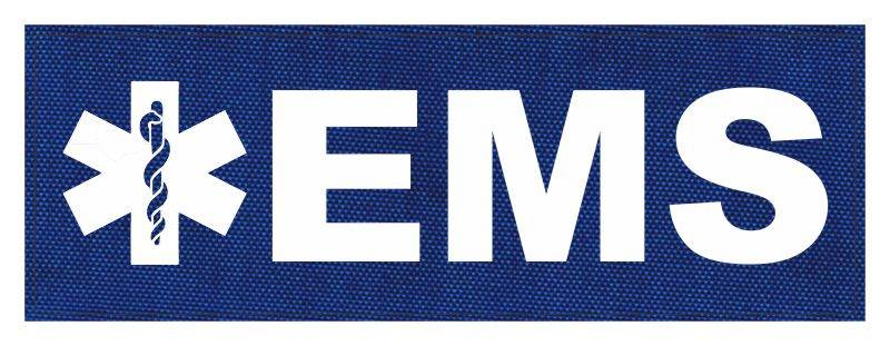 EMS Patch - Star of Life - 8.5x3.0 - White Lettering - Royal Blue Backing - Hook Fabric