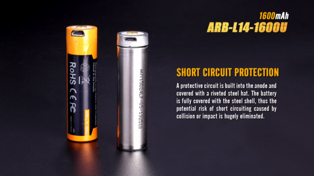Fenix ARB-L14-1600U Built-In USB Rechargeable 14500 Battery