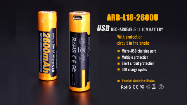 Fenix ARB-L18-2600U Built-In USB Rechargeable 18650 Battery