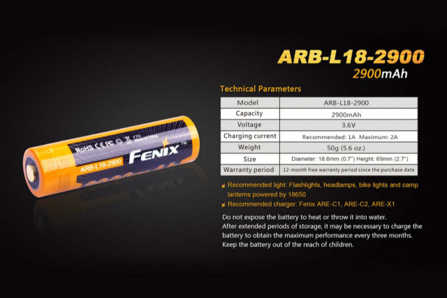 Fenix ARB-L18-2900 18650 Rechargeable Battery