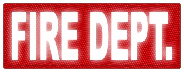 FIRE DEPT. ID Patch - 11x4 - Reflective White Lettering - Red Backing - Hook Fabric