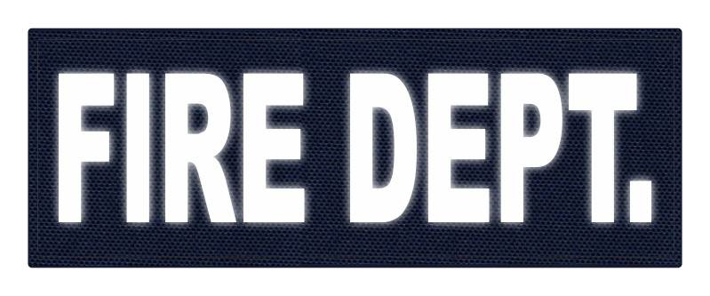 FIRE DEPT. ID Patch - 11x4 - Reflective White Lettering - Navy Backing - Hook Fabric