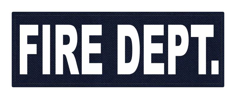 FIRE DEPT. ID Patch - 8.5x3 - White Lettering - Navy Backing - Hook Fabric