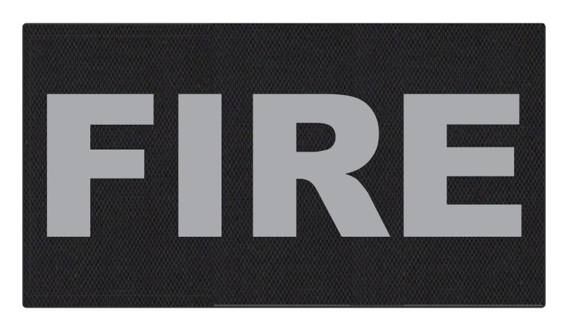 FIRE ID Patch - 11x6 - Gray Lettering - Black Backing - Hook Fabric