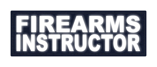 FIREARMS INSTRUCTOR - 6x2 - Reflective White Lettering - Navy Backing - Hook Fabric