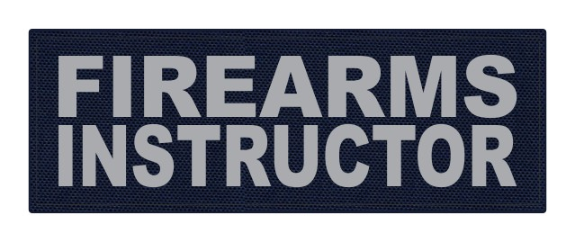 FIREARMS INSTRUCTOR - 8.5x3 - Gray Lettering - Navy Backing - Hook Fabric