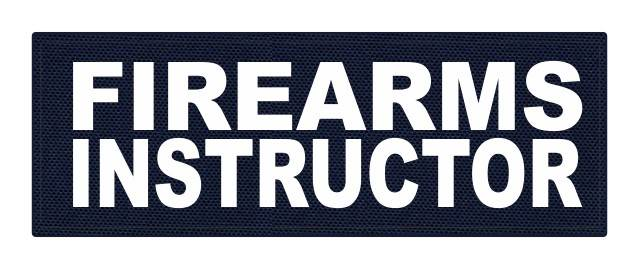 FIREARMS INSTRUCTOR - 8.5x3 - White Lettering - Navy Backing - Hook Fabric