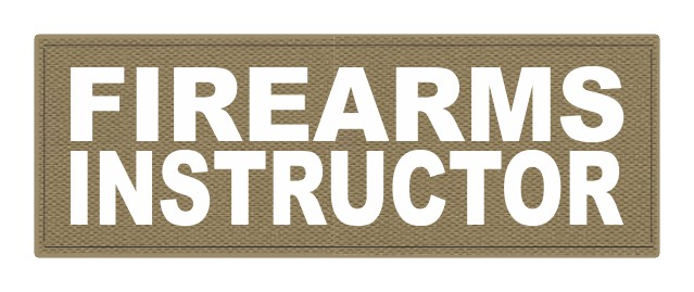 FIREARMS INSTRUCTOR - 8.5x3 - White Lettering - Tan Backing - Hook Fabric