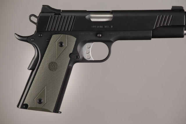 Hogue Molded Handgun Grip 1911 - Government 1911, Commander & Clones w/Grip Panels - OD Green