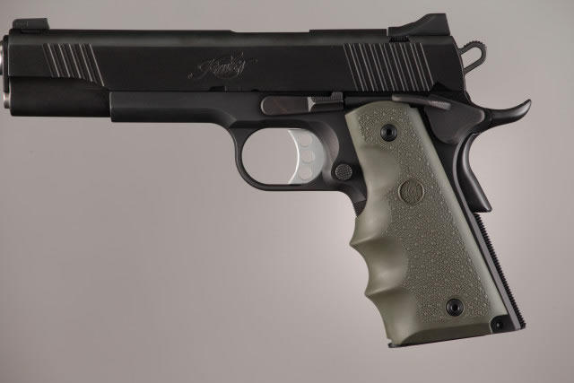 Hogue Molded Handgun Grip 1911 - Government 1911, Commander & Clones w/Finger Grooves - OD Green