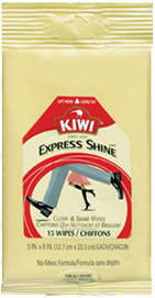 Kiwi Express Clean and Shine Wipes - All Colors - 15 Wipes