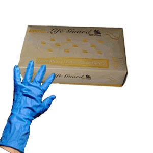 Life Guard High Risk Exam Gloves - 15 mil - Blue Latex
