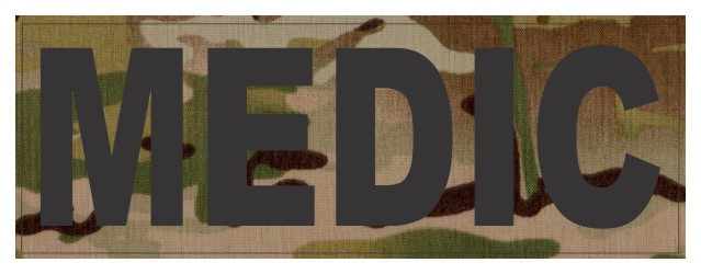 MEDIC ID Patch - 11x4 - Black Lettering - Multicam Backing - Hook Fabric