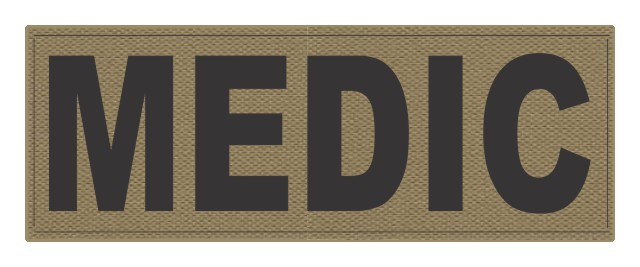 MEDIC ID Patch - 11x4 - Black Lettering - Tan Backing - Hook Fabric