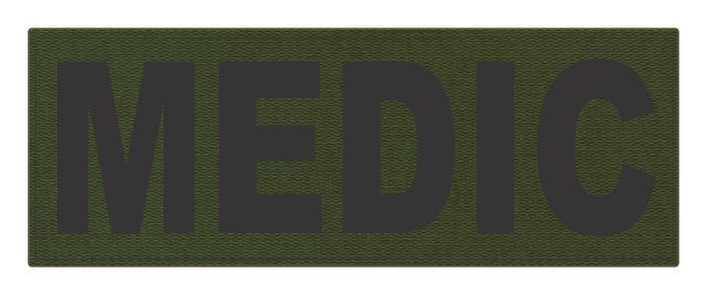 MEDIC ID Patch - 11x4 - Black Lettering - OD Green Backing - Hook Fabric