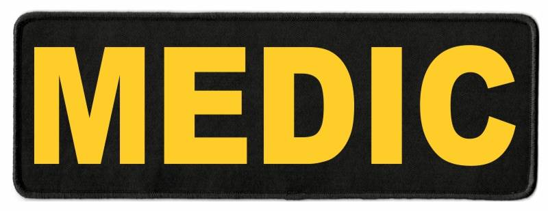 MEDIC Identification Patch - 11x4 - Gold Lettering - Black Twill Backing
