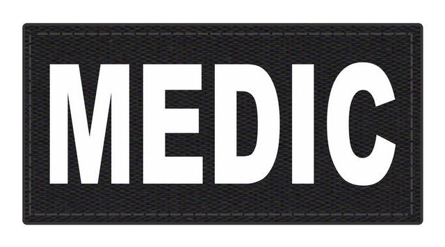 MEDIC Patch - 4x2 - White Lettering - Black Backing - Hook Fabric