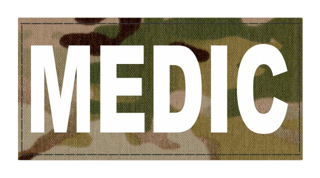 MEDIC Patch - 4x2 - White Lettering - Multicam Backing - Hook Fabric